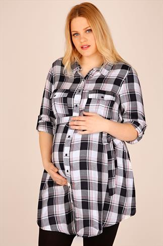 BUMP IT UP MATERNITY Navy And White Check Longline Shirt With Waist Tie