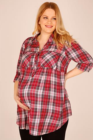 BUMP IT UP MATERNITY Red, White & Black Checked Longline Shirt