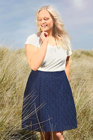 BURNHAM BAY Navy Embroidered Lace A-Line Skirt With Scalloped Hem