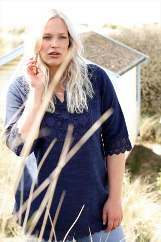 BURNHAM BAY Navy Longline Jersey Top With Crochet Lace Panel & Waist Tie