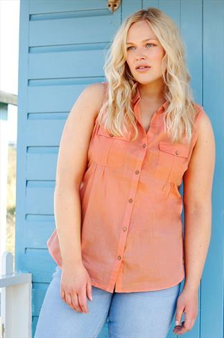 BURNHAM BAY Peach Crochet Back Sleeveless Shirt
