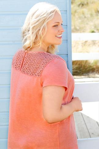 BURNHAM BAY Peach Crochet Detail Top