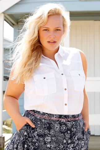 BURNHAM BAY White Crochet Back Sleeveless Shirt