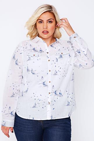 BURNHAM BAY White Long Sleeve Shirt With Blue Nautical Sailing Print