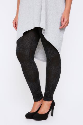 Black Animal Print Full Length Leggings