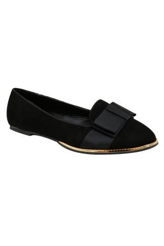 Black Ballerina Pumps With Gold Trim In E Fit