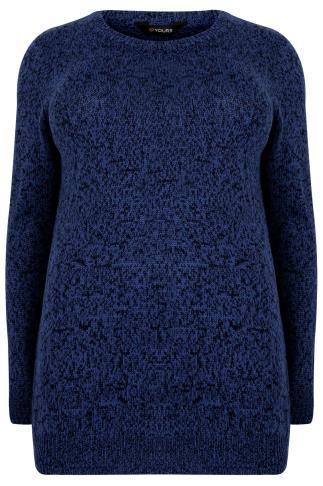 Black & Blue Longline Twist Knit Jumper