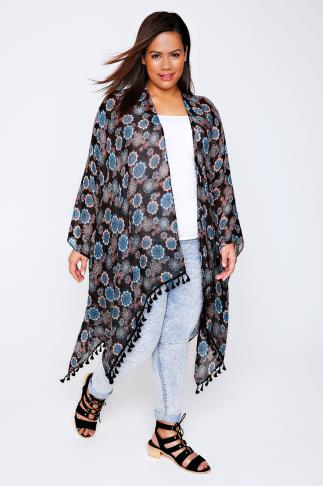 Black, Blue & Peach Mandala Print Lightweight Woven Wrap