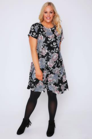 Black, Blue & Pink Floral Print Swing Dress
