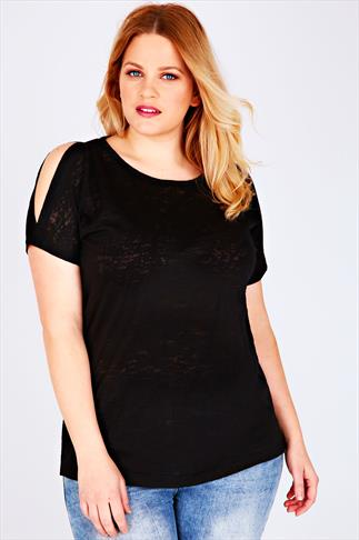 Black Burnout Top With Cold Shoulder Detail & Dipped Hem
