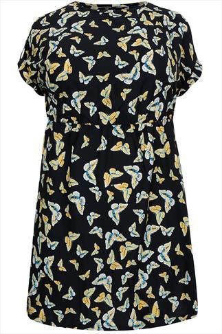 Black & Yellow Butterfly Print Skater Dress