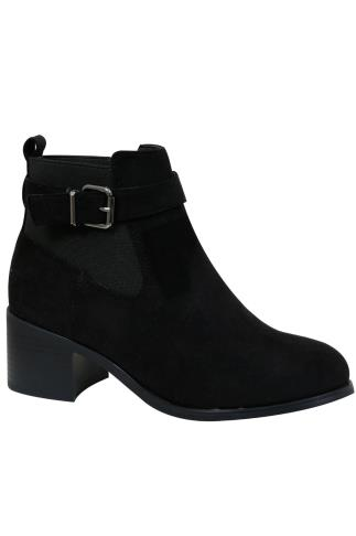 Black Chelsea Boot With Buckle Detail In E Fit