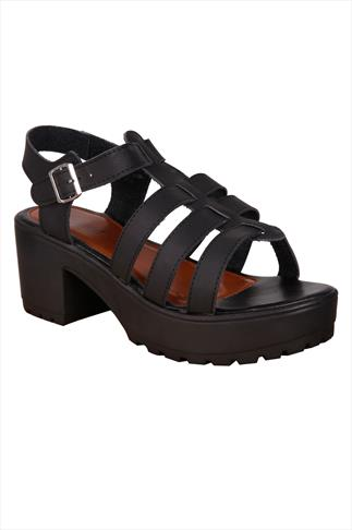 Black Cleated Platform Gladiator Sandals In Wide Fit