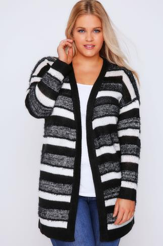 Black & Cream Stripe Knit Longline Cardigan