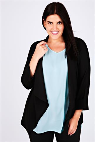Black Crepe Waterfall Blazer Jacket