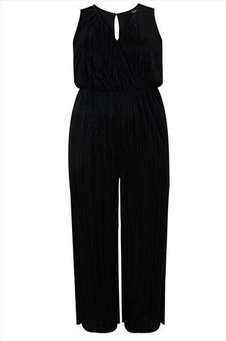Black Crinkle Pleat Sleeveless Full Length Jumpsuit