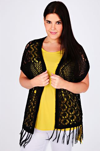 Black Crochet Knit Sleeveless Cardigan With Tassel Hem