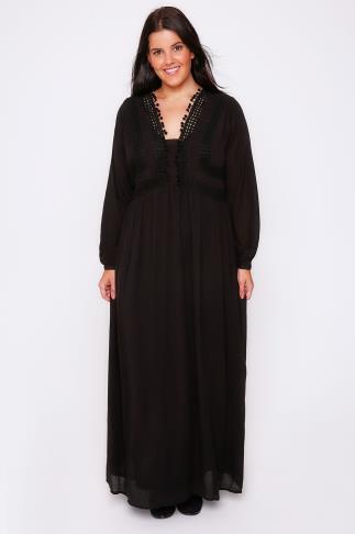 Black Crochet Long Sleeve Maxi Dress With Pom Pom Detail