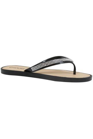 Black & Diamante Toe Post Sandals In EEE Fit