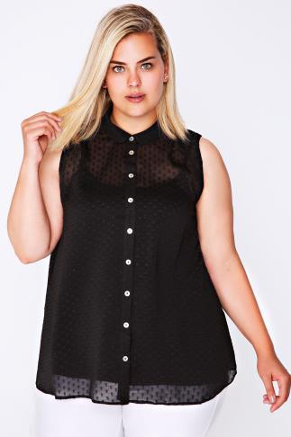 Black Dot Detail Sleeveless Chiffon Shirt