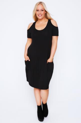 Black Drape Pocket Dress With Cold Shoulders
