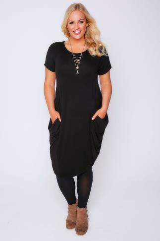 Black Drape Side Jersey Dress