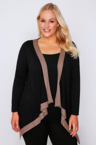 Black Edge To Edge Waterfall Jersey Cardigan With Light Brown Border
