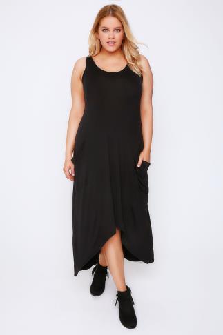 Black Extreme Dip Back Drape Pocket Sleeveless Dress