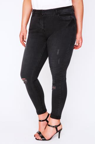 Black Faded Denim Ankle Grazer Cropped Jeans With Rip Details