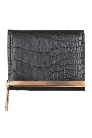Black Faux Snakeskin Small Purse With Metal Trim Detail