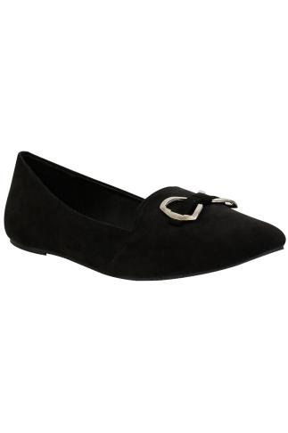 Black Faux Suede Ballerina Pump With Metal Bow Detail In E Fit