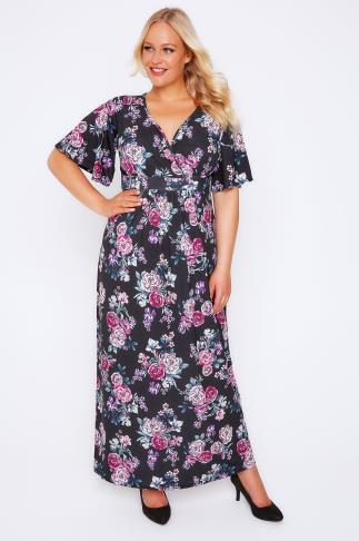 Black & Purple Peony Print Wrap Front Maxi Dress