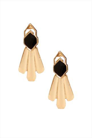 Black & Gold 2 in 1 Drop Earrings