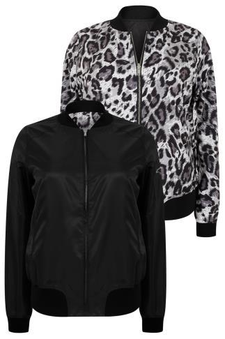 Black & Grey Animal Print Reversible Bomber Jacket