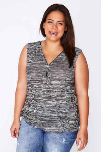 Black & Grey Space Dye Zip Front Sleeveless Top