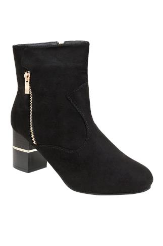 Black Heeled Ankle Boot With Gold Trim In E Fit