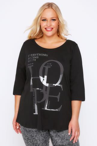 "Black ""Hope"" Slogan Print T-Shirt With 3/4 Sleeves & Dip Back"