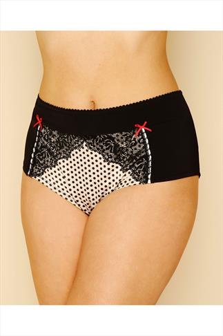 Black & Ivory Spotty Short Briefs With Lace Trim