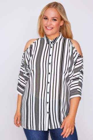 Black & Ivory Striped Cold Shoulder Shirt
