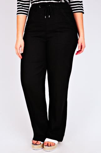 Black Linen Mix Full Length Trousers With Four Pockets 30""