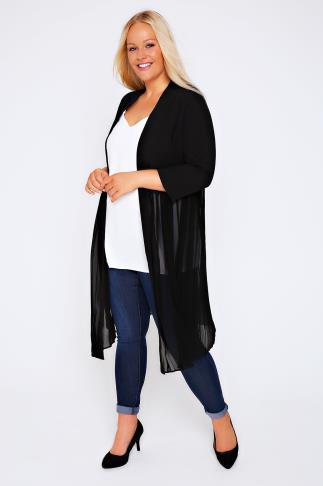 Black Longline Crepe Jacket With Sheer Pleat Bottom Panel