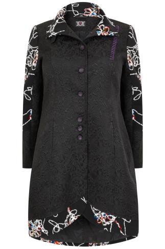 Black & Multi Fancy Frock Coat With Funnel Neck