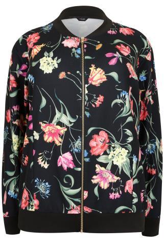 Black & Multi Floral Print Textured Bomber Jacket