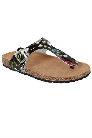 Black & Multi Floral Print Toe Post Cork Effect Sandals In EEE Fit
