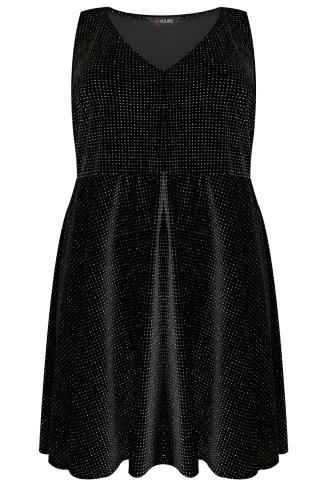 Black & Multi Velour Glitter Skater Dress With V Neckline