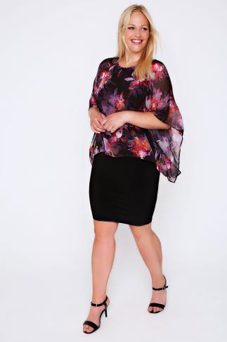 Black & Multi Jersey Midi Dress With Floral Print Chiffon Overlay