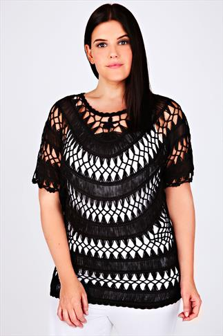 Black Open Crochet Knit Top