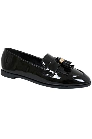 Black Patent Slip On Loafers With Tassel Detail In E Fit