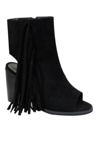 Black Peep Toe Heeled Tassel Boots In E Fit