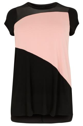 Black & Pink Colour Block Top With Dipped Hem